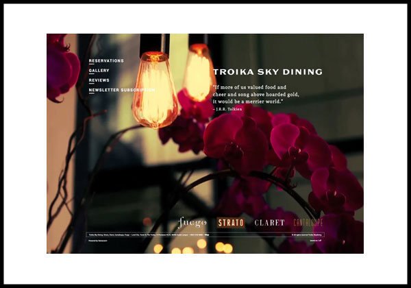 Troika Sky Dining, landing page